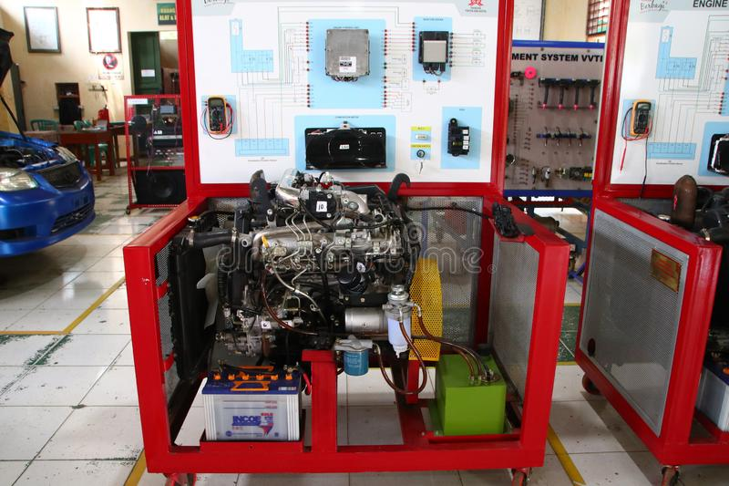 A complete picture of the Toyota Fortuner engine, the type of diesel engine,. To be made to study the practice of car engine technicians in the workshop, Batang royalty free stock image