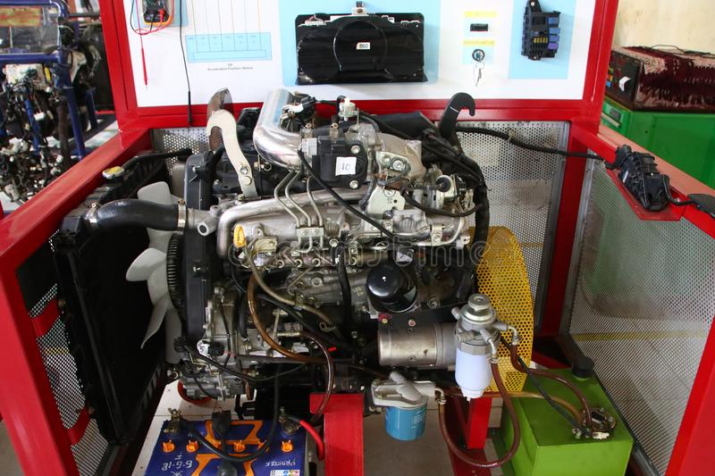 A complete picture of the Toyota Fortuner engine, the type of diesel engine,. To be made to study the practice of car engine technicians in the workshop, Batang royalty free stock photography