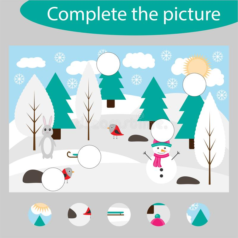 Complete the puzzle and find the missing parts of the picture, winter fun education game for children, preschool worksheet vector illustration