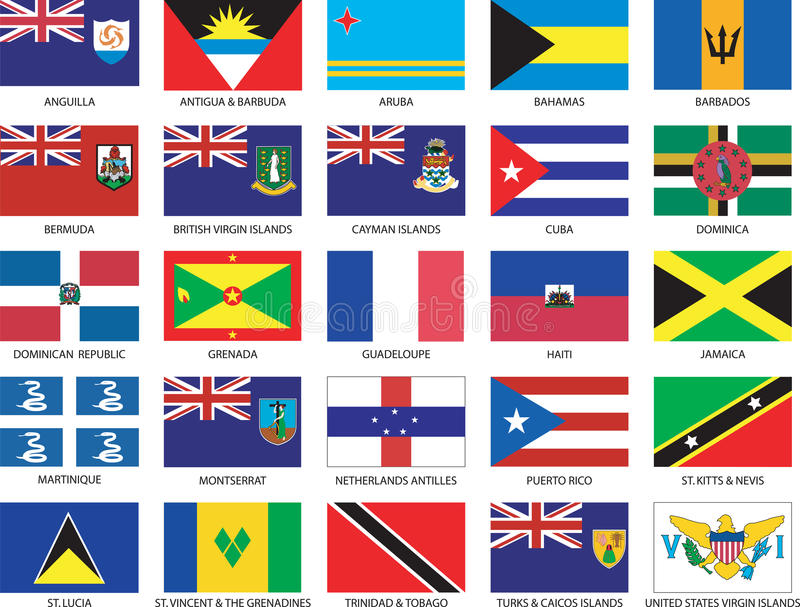 Complete set of 25 Caribbean Flags stock illustration
