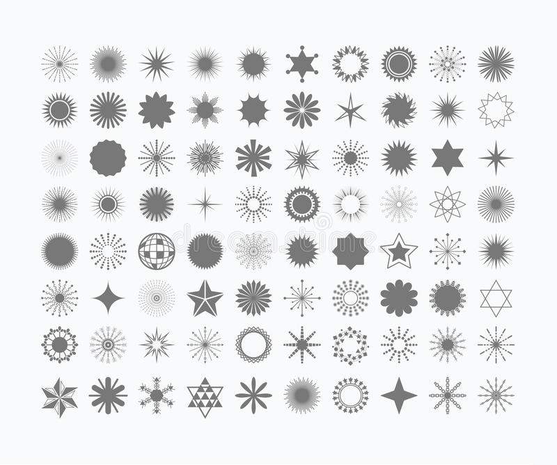 Complete Set Of 80 Black Stars And Symbols Set Stock Vector