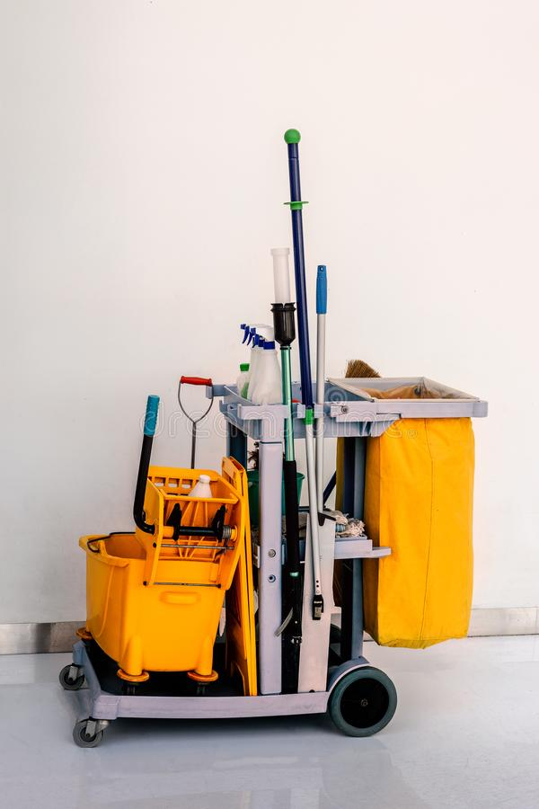 Complete set of cleaning trolley prepare for working stock photography