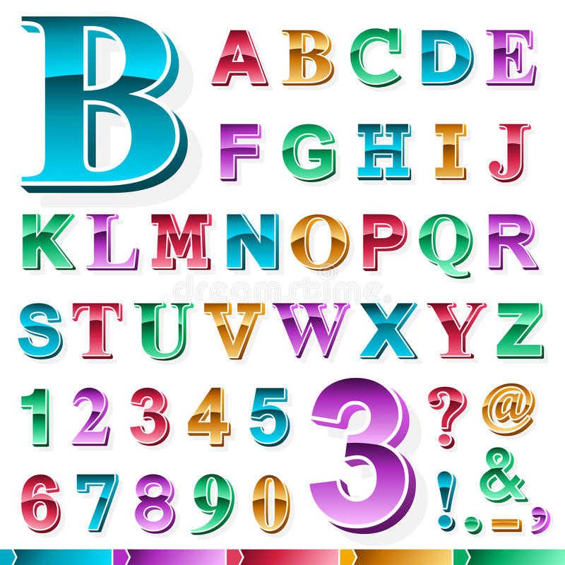 Complete set of colored alphabet and numbers vector illustration