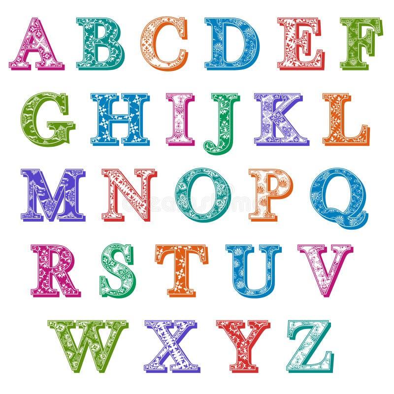 Stock Illustration Complete Set Colorful Patterned Alphabet Letters Antiqua Uppercase Floral Patterns Drop Shadows Colors Image47293363 on Free Alphabet Charts