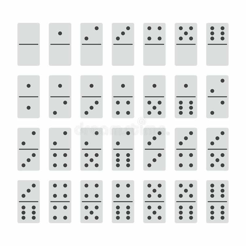 Complete Set of Domino Stones in White royalty free illustration