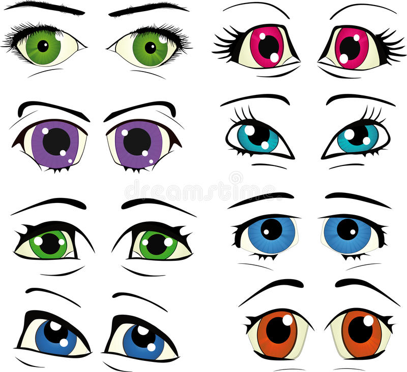 The complete set of the drawn eyes. The complete set of eyes for drawings stock illustration