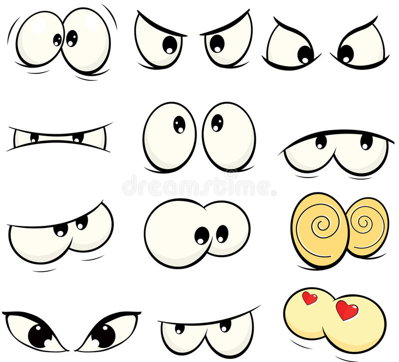 The complete set of the drawn eyes. Set of various doll eyes vector illustration