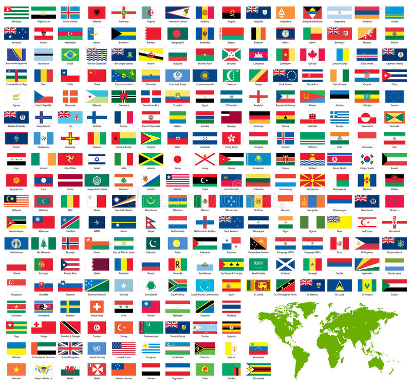 Complete set of official world flags stock photos