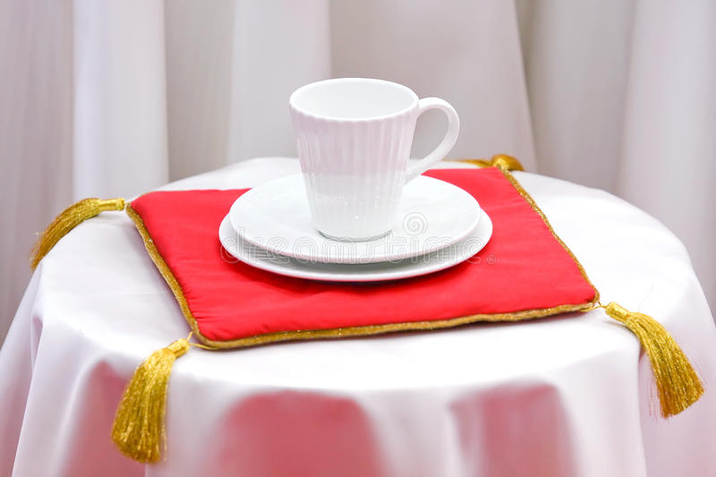 Complete set of white ware. Set of white ware, cup a saucer, for tea, coffee stock photos