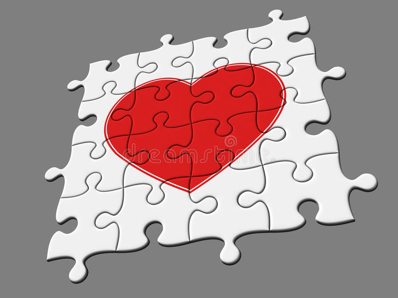 Completed Mosaic From Puzzles With Symbol Of Heart Royalty Free Stock Photos