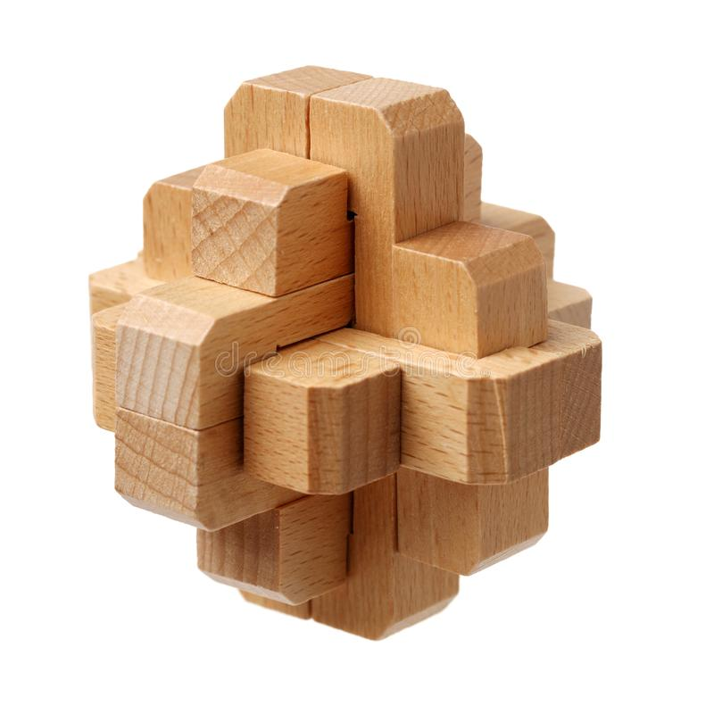 Completed wooden puzzle royalty free stock image
