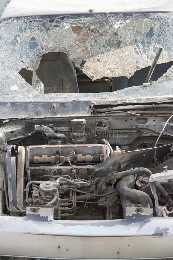 Completely destroyed car royalty free stock image