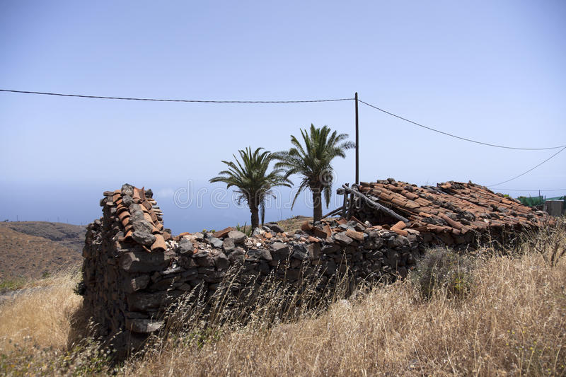 Completely dilapidated barn in the mountains of La Gomera. On La Gomera are many of these completely ruined buildings royalty free stock photo