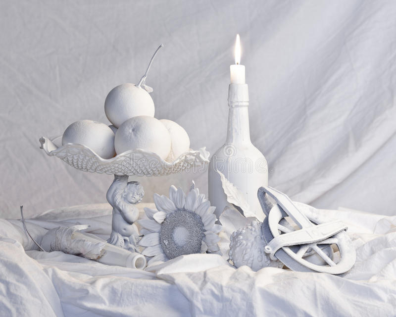 Completely white old masters still life. Old masters style still life completely in white stock images