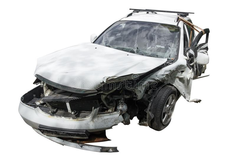 A completely wrecked car after a serious accident,ruined car isolated on a white backgound. A completely wrecked car after a serious accident,.ruined car stock image