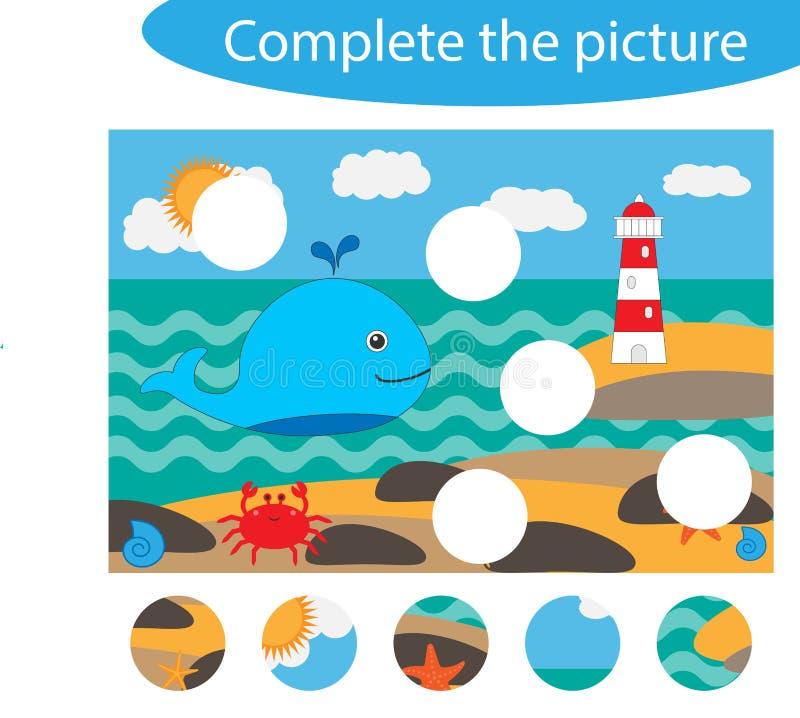 Completi il puzzle e trovi le parti mancanti dell'immagine, la vita dell'oceano, il gioco per i bambini, foglio di lavoro prescol illustrazione vettoriale