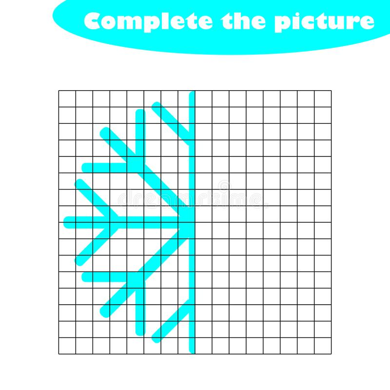 Completi l'immagine, fiocco di neve nello stile del fumetto, pareggiante l'addestramento di abilità, gioco di carta educativo per illustrazione di stock