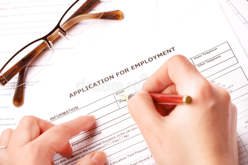 Download Completing An Employment Application Stock Image - Image: 24315003