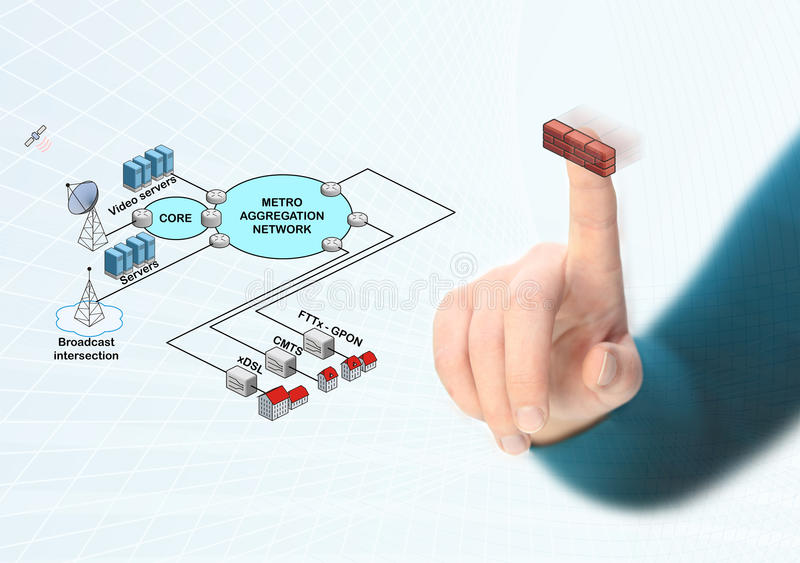 Completing network diagram. Completing global network diagram with firewall royalty free illustration