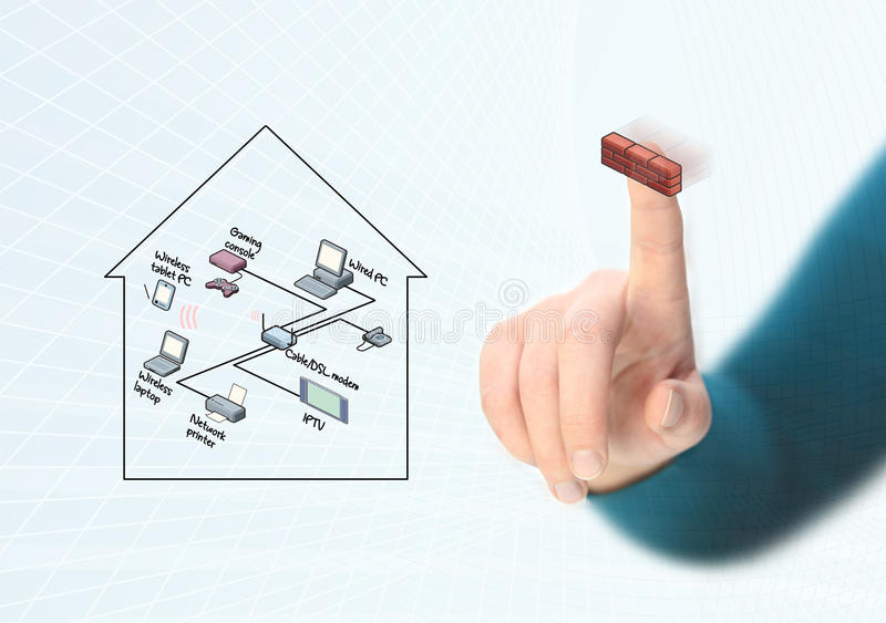 Completing network diagram. Completing home network diagram with firewall royalty free illustration