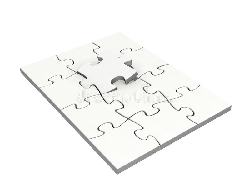 Completing a puzzle stock image