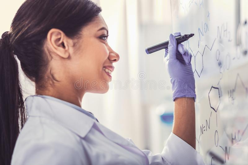 Amicable smiling chemical assistant completing task in laboratory. Completing task. Amicable smiling chemical assistant feeling extremely involved in completing royalty free stock images