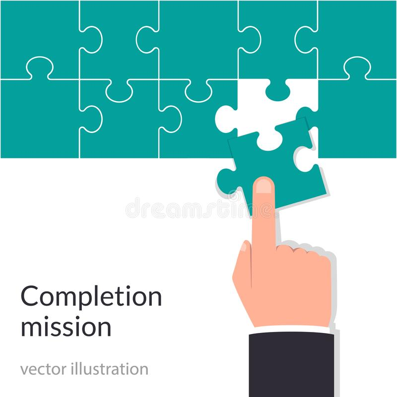 Completion mission concept. Businessman holding puzzle in hands putting in jigsaw. Vector illustration flat design royalty free illustration