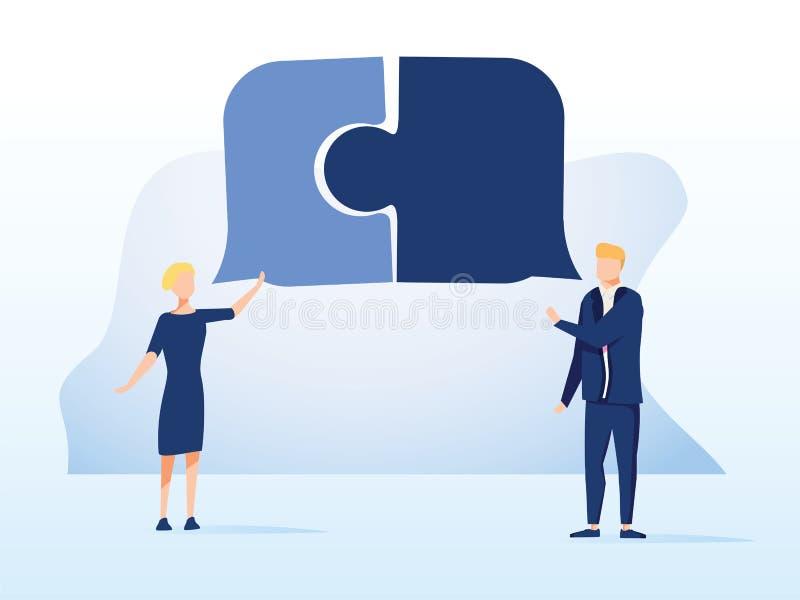 completo Crear la cooperación de las ideas Ejemplo del concepto del vector del negocio Hombres de negocios que combinan sus ideas libre illustration
