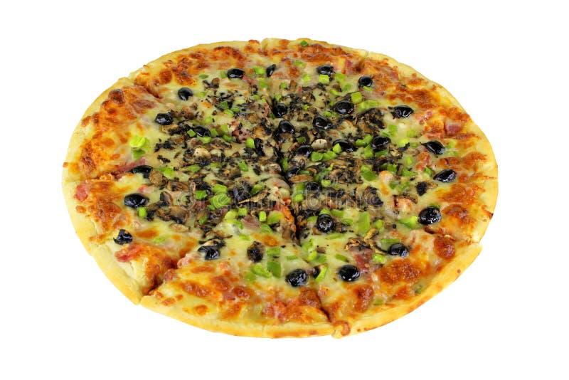 Completo de la pizza de Quattro Stragioni aislado foto de archivo libre de regalías