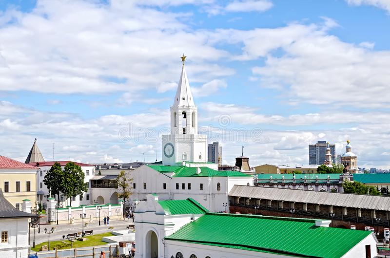 Complex of architectural monuments of the Kazan Kremlin. KAZAN, RUSSIA - JULY 26, 2014: Spasskaya tower of the Kremlin in a complex of architectural monuments stock images
