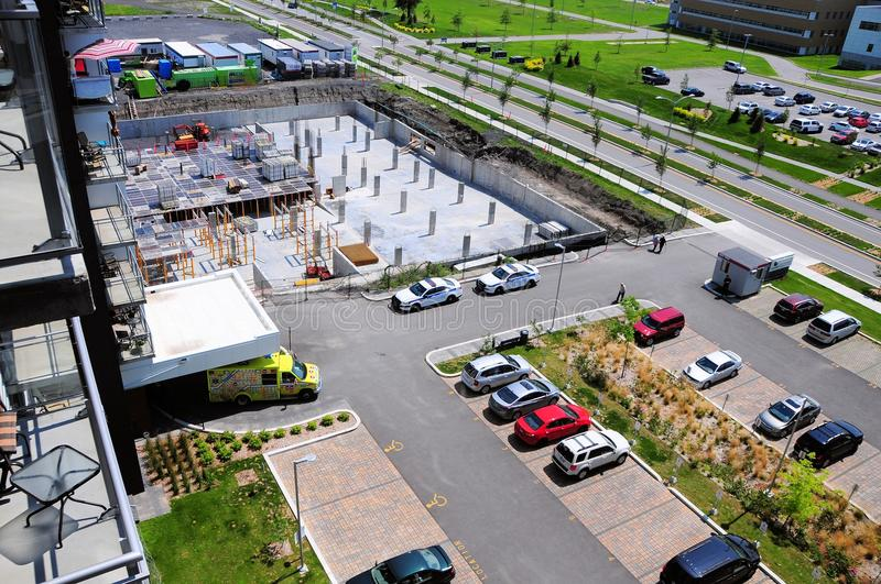 Complex Construction Site in the city of Terrebonne, Quebec, Canada. stock photo
