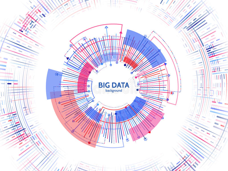 Complex data graphic visualization. Futuristic business analytics. royalty free illustration