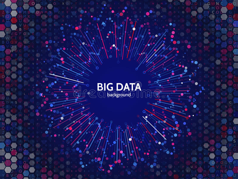 Complex data graphic visualization. Futuristic business analytics. Big data analys visualization with lines, dots and arrow elements. Futuristic infographic royalty free illustration