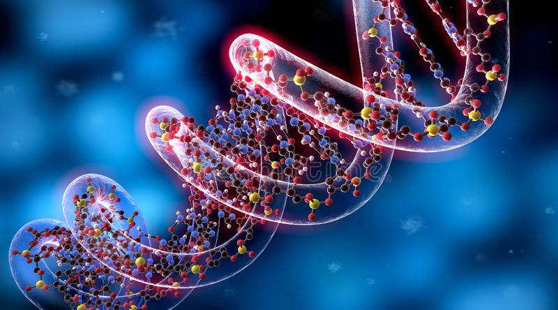 Complex DNA - medical 3D illustration. Colored  complex DNA structure closeup against a blue backdrop with  particles - medical 3D illustration - rendering royalty free illustration