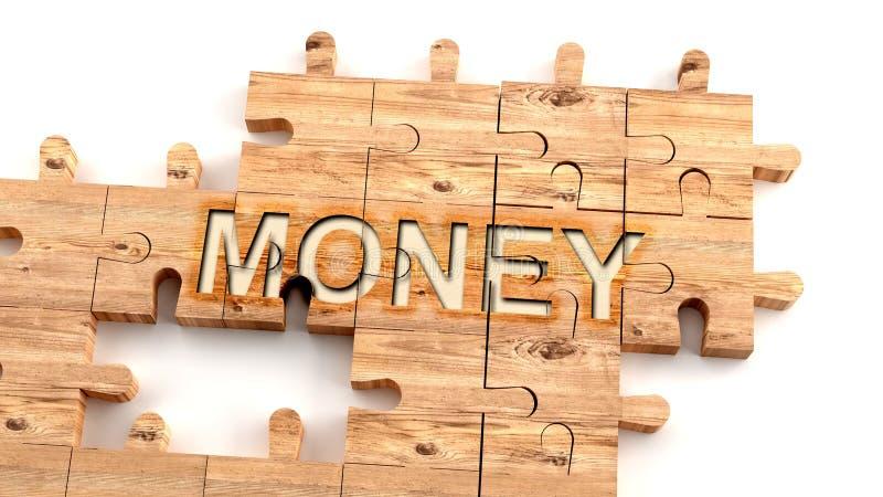 Complex en verwarrend geld: leer gecompliceerd , hard en moeilijk geldconcept , afgebeeld als stukken van een houten puzzel vector illustratie