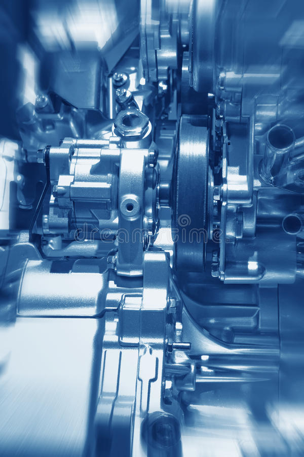 Engine. Complex engine of modern car interior view royalty free stock photos
