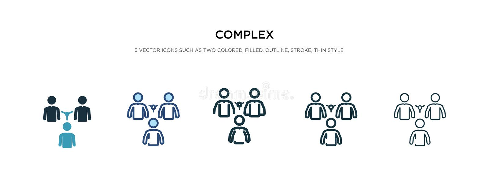 Complex icon in different style vector illustration. two colored and black complex vector icons designed in filled, outline, line stock illustration