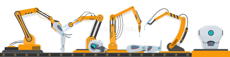 Complex industrial equipment robots, robotic equipment, for assembling human robot. royalty free illustration