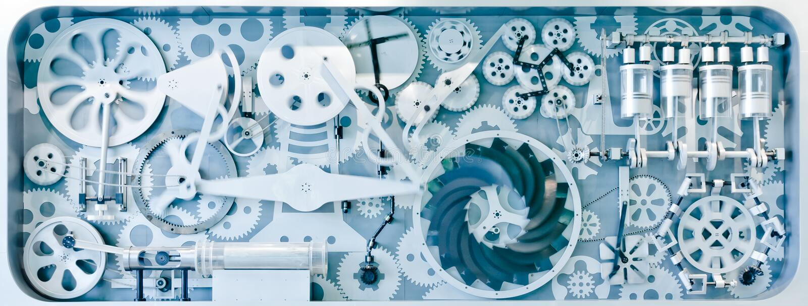 Complex industrial gear systems. Model royalty free stock photo