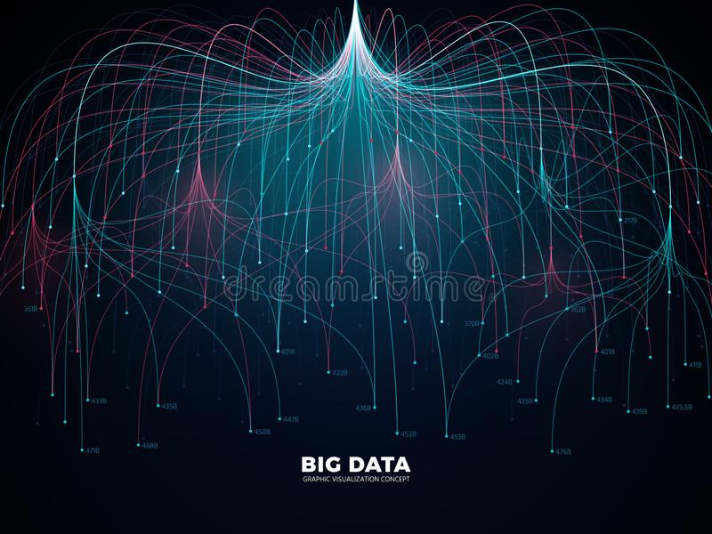 Complex information big data visualization. Abstract futuristic energy representation vector concept stock illustration