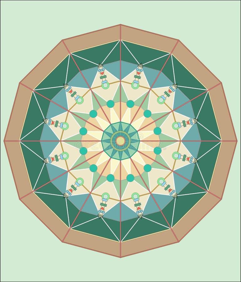 COMPLEX ISLAMITISCH GEOMETRISCH ORNAMENT IN EEN CIRKEL vector illustratie
