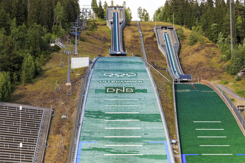 The complex jumps in Lillehammer, Norway. LILLEHAMMER, NORWAY - JULY 6, 2016: This is ski jump in Lillehammer, known as Lysgardsbakken, opened in 1993 stock photos