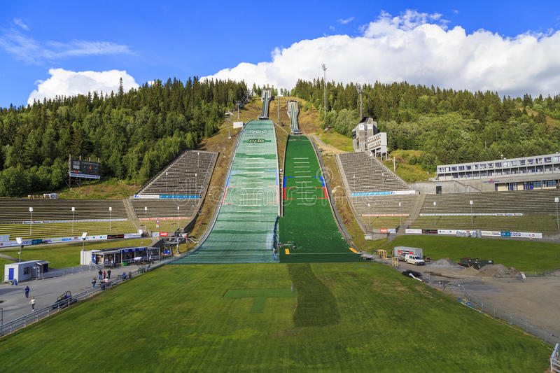 The complex jumps in Lillehammer, Norway. LILLEHAMMER, NORWAY - JULY 6, 2016: This is ski jump in Lillehammer, known as Lysgardsbakken, opened in 1993 royalty free stock photo