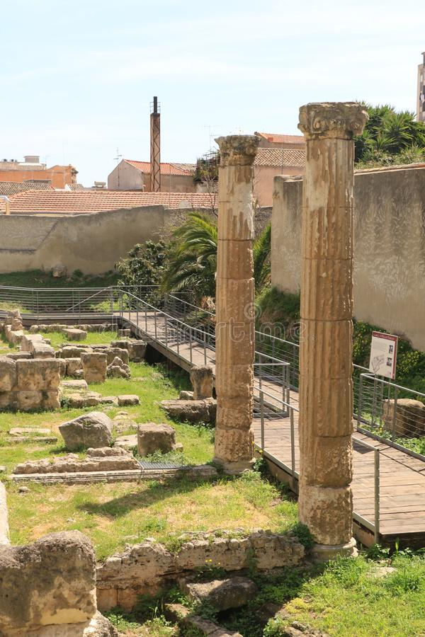 Stone Pillars of Villa Tigellio. The complex known as the Villa of Tigellius, since it was originally attributed to the bard of the same name, a contemporary of stock photography