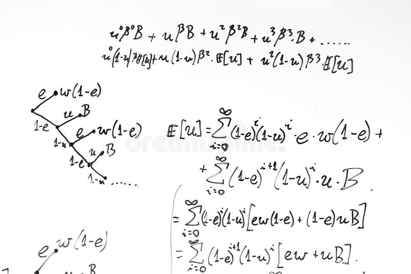 Complex Math Formulas On Whiteboard Mathematics And Science With