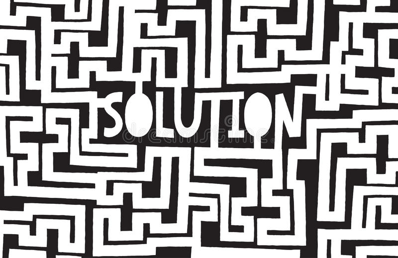 Complex maze to find a solution stock illustration