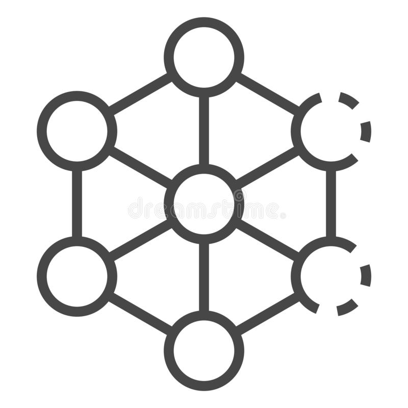 Complex molecule icon, outline style royalty free illustration