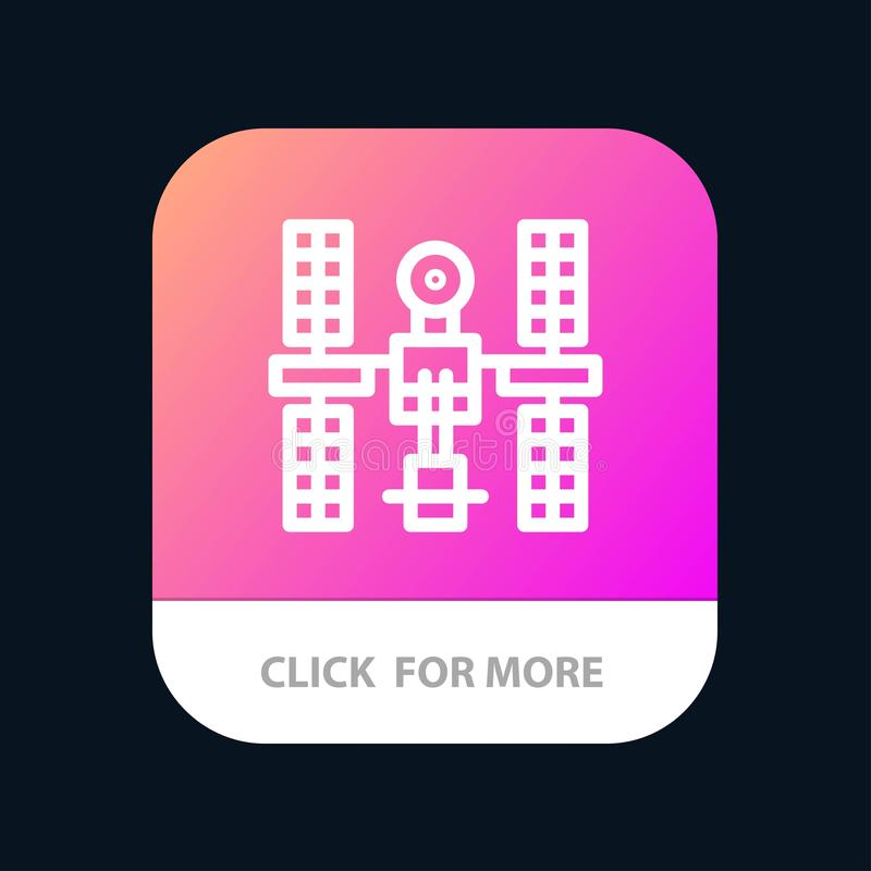 Complex, Orbital, Platform, Satellite, Space Mobile App Button. Android and IOS Line Version royalty free illustration