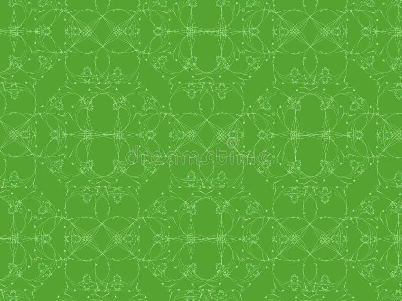 Complex patroon van harten op groene achtergrond stock afbeeldingen