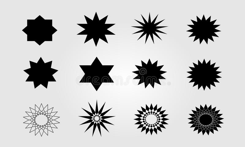 Complex star icon set vector stock illustration
